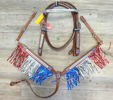Showman Patriotic Metallic Fringe Headstall Breastcollar-Red White Blue Crystals