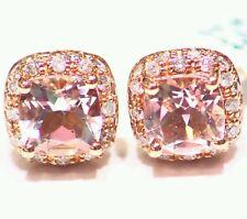 2.19CT 14K Rose Gold Natural Morganite Cut Diamond Vintage Engagement Earrings