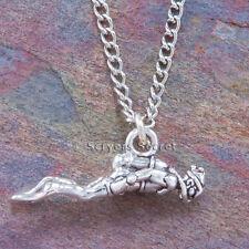 925 sterling silver SCUBA DIVER 3D Charm Ocean Sea Diving Pendant Necklace