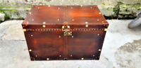 Classic Handmade Leather Brown Finest Leather Trunk With Key Leather Box Active