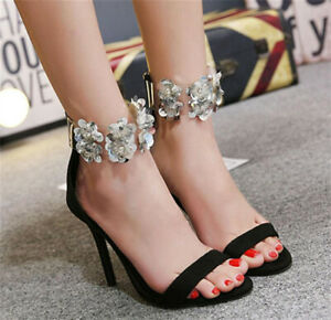 Fashion Women Big Sequin Glitter Flower Rubber Ankle Strap Peep Toe Sandals