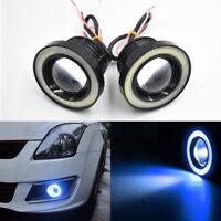 Pair 3 Inch LED Projector COB Angel Eye Fog Light Halo Ring Driving Lamp Blue