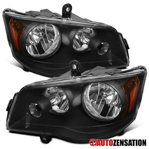 For 2011-2018 Dodge Grand Caravan 08-16 Town & Country Black Headlights Lamps