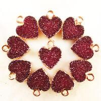 10pcs Wrapped Purple Titanium Crystal Heart Pendant Bead 13x12x2mm DC20195508