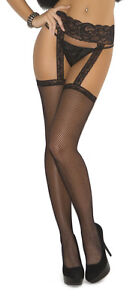 Fishnet Thigh Highs Lace Garter Belt Attached Nylons Hosiery 1713