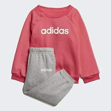adidas girls pink/grey infant/baby linear tracksuit. Various sizes!