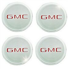 70S 80S 90S GMC RALLY RIM WHEEL CENTER CAP LOGO METAL EMBLEM DECAL NEW NOS (4)