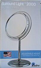 "Zadro Surround Light Adjustable hight 5X- 9"" Vanity Mirror in Satin Nickel- SA45"