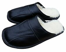 Mens Black Leather Sheepskin Slippers Warm Winter Slip On Moccasins size 7 - 13