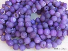 Dark Purple Agate Druzy Beads - Quartz Matte Finish Round Stone Beads - 12mm - 1