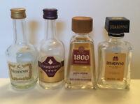 4 Mini Liquor Bottles 50ml Glass Hennessy, Courvoisier, Disaronno Reposado Empty