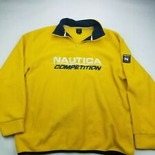 Vintage NAUTICA Competition 1/4 Zip Fleece Size XL Yellow Made in USA