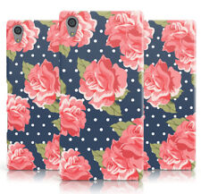 DYEFOR LARGE RED ROSE NAVY DOT PRINT PHONE CASE COVER FOR SONY XPERIA
