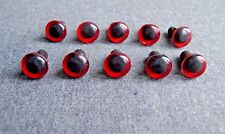 10 PCS VINTAGE 70'S PLASTIC WITH HOLE FOR SEWING RED BEARS & DOLLS EYES