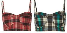 Red or Teal Plaid Bralette Bra (grunge, pinup, 50's, 60's, 90's retro) NWT