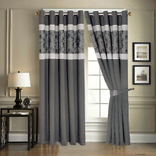 Faux Silk Jacquard Fully Lined Eyelet Top/Ring Top Bedroom,Living Room  Curtains