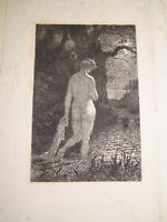 Ecole FRANCAISE XIX EAU FORTE CLAIR OBSCUR PORTRAIT FEMME IMPRESSIONNISME 1880
