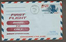 1967 first flight aerogramme cover Braniff Miami AMF to Cali Colombia