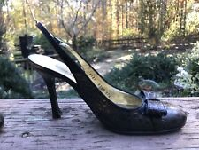 Dolce & Gabbana Black Leather Slingback Heels 37.5 Med