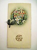 1912 Christmas Greeting Card w/ Colorful Die Cut w/ English Symbols  *