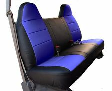 FORD F-150 BLACK/BLUE IGGEE S.LEATHER CUSTOM FIT BENCH FRONT SEAT COVER