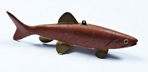Really Cool Unknown Maker Salmon Spearing Decoy Natural Cedar Glass Eyes