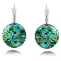 Vintage Style Green Peacock Glass Silver Cabochon Hoops Drop Earrings E1236