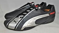 PUMA DUCATI Panigale Black Leather Metallic Silver Moto GP Sneakers Men 13 M