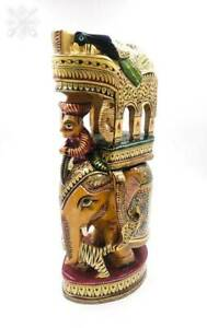 Wooden Hand Carved Ambabari Howdah Elephant Statue Sculpture With Gold Painting