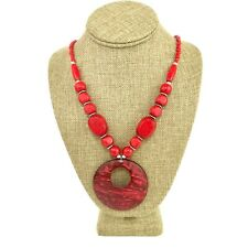 Red Boho Ethnic Tribal Necklace Jungle Bead Statement Wood Pendant