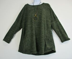 Lagenlook Ladies Women's Casual Soft Comfy Top/ Jumper with Necklace One Size