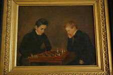 A CHESS GAME - FINE OIL PAINTING - 19th century