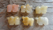 ELEPHANT Set F (pkg of 6) YELLOW JADEITE Carved Animal Beads Pendant stones sets