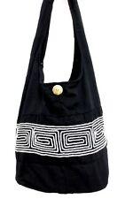 BLACK YAAM SHOULDER BAG THIN SLING HIPPIE CROSSBODY MONK HOBO THAI ADVENTURE MEN