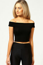 Womens Ladies Off Shoulder Crop Top Bardot Sleeveless Vest Short T-Shirt Plain