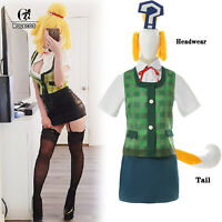 Animal Crossing Isbelle Cosplay Costume Green Uniform Outfit With Headwear Tail