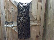 NEW NEXT STRAPLESS BLACK /BRONZE SEQUINNED KNEE LENGTH BODYCON PARTY DRESS 16 UK