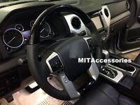 TOYOTA TUNDRA 2014-2021 BLACK PIANO wood look Genuine leather steering wheel
