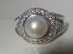 DAVID YURMAN PETITE PEARL PAVE DIAMOND RING