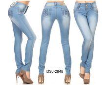 Diva star colombian 2848 light blue levanta cola push up high waist skinny jean