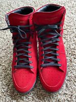 Rare Red Yves Saint Laurent Suede High Top Sneakers  YSL Size 47 COLLECTIBLE