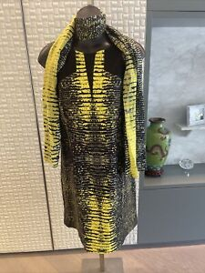 David Lawrence Designer Dress, Size 16, Black & Yellow Snake Print, Amazing!