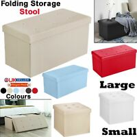 Small & Large Folding Ottoman Footstool Storage Living Room Bedroom Storage Box