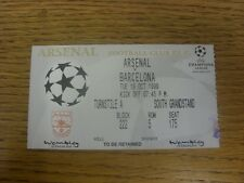 19/10/1999 Ticket: At Wembley, Arsenal v Barcelona [Champions League] .  Thanks