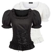 Retro Womens Gothic T Shirt Tee Renaissance Steampunk Short Sleeve Lace Tops