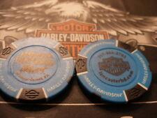 Harley Light Blue & Black Poker Chip  Lancaster, PA Harley Davidson