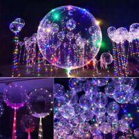 10Pcs Reusable Luminous Led Balloon Transparent Round Bubble Decor Party Wedding