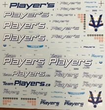 SHEET OF WATER SLIDE SILK SCREEN PRINTED PLAYER'S SPONSOR DECALS 1/18  SCALE