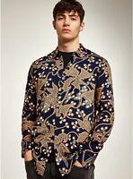 MENS Ex Topman Multi Navy Print Classic Shirt   Size XS - XXL