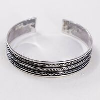 """7"""", Vtg Braid Sterling Handmade Cuff, 925 Silver Bracelet W/ Cable Textures"""